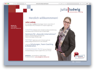 <a href='http://www.julia-ludwig-coaching.de' target='_blank'>www.julia-ludwig-coaching.de</a><br />Julia Ludwig - Communication. Coaching - Webvisitenkarte<br />Gemeinschaftsproduktion mit Sabine Perlinger von <a href='http://www.pool-x.de' target='_blank'>www.pool-x.de</a><br />September 2015 - Technologie: HTML responsive (56/140)